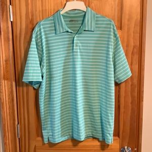 Green and white golf polo